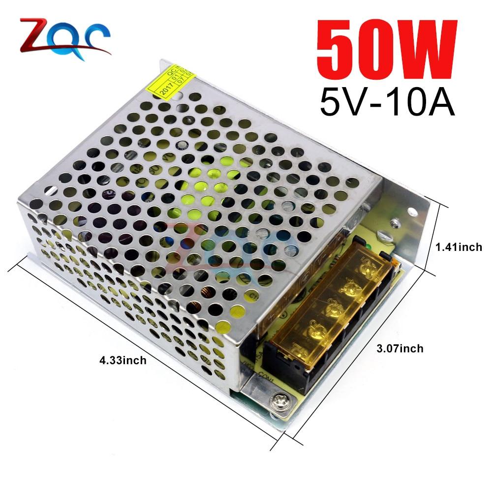 AC-DC, импульсный источник питания, адаптер, светильник, трансформатор переменного тока 110 В 220 В до постоянного тока 5 в 10 А 50 Вт для светодиодно...