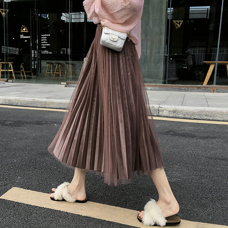 Velvet Mesh Patchwork  Female Autumn/Winter Pleated Skirt  Korean Pleuche Tulle Skirt  Women Skirts