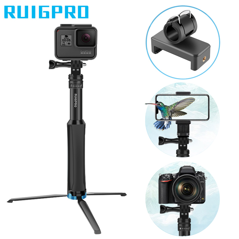Ruigpro Multi functional All in one Aluminum Universal Tripod Handheld Monopod For GoPro 7 DJI OSMO Action Camera Smartphone-in Sports Camcorder Cases from Consumer Electronics