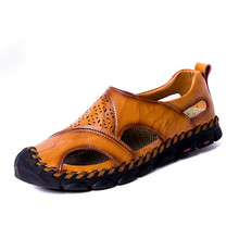 New Summer Sandals Mens Breathable High Quality Genuine Leather Sandals Man Flats Plus Size Fashion Casual Beach Men's shoes sagace 2018 plus size 34 43 new high quality genuine leather sandals women girls shoes solid color flat summer beach shoes
