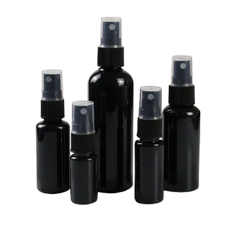 Empty Black Plastic Spray Bottle 10ml 20ml 30ml 50ml 100ml PET Sprayer Pump Atomizer Packaging Containers Refillable Bottles