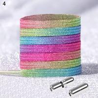 Giltter-cordones de bloqueo elásticos de Color arcoíris/estampado Floral, cordón rápido sin corbata para Unsex, zapatos para niños, mujeres y hombres