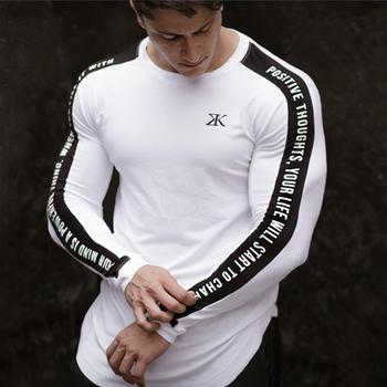 Sportowa koszula z długim rękawem męska koszulka Fitness siłownia Tshirt odzież sportowa Dry Fit męska koszulka do biegania koszulka kompresyjna trening sportowy Top tanie i dobre opinie Pasuje mniejszy niż zwykle proszę sprawdzić ten sklep jest dobór informacji Flexible O-neck Long sleeve gym shirts