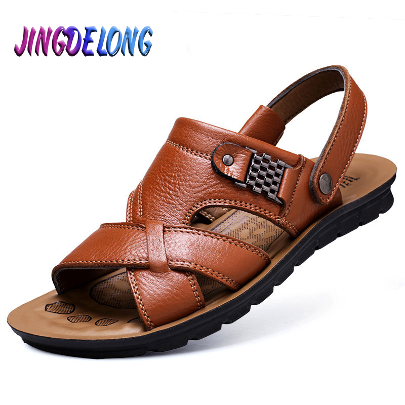 Brand Mens Gladiator Sandals Summer Outdoor Cork Sole Men's Sandals Comfortable Slip-ON Male Beach Slippers Roman Boys Loafers
