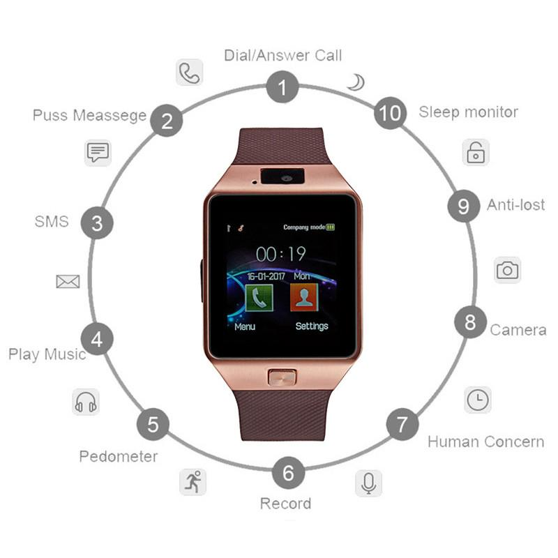Bluetooth Smart Watch Multi-language Positioning Call Monitoring Photo Listening Song Touch Screen Phone Multi-function Watch image