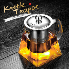 450ml Heat Resistant Glass Teapot with Stainless Steel Infuser Square Tea Pot Borosilicate Kettle Teapots Stainer for Loose