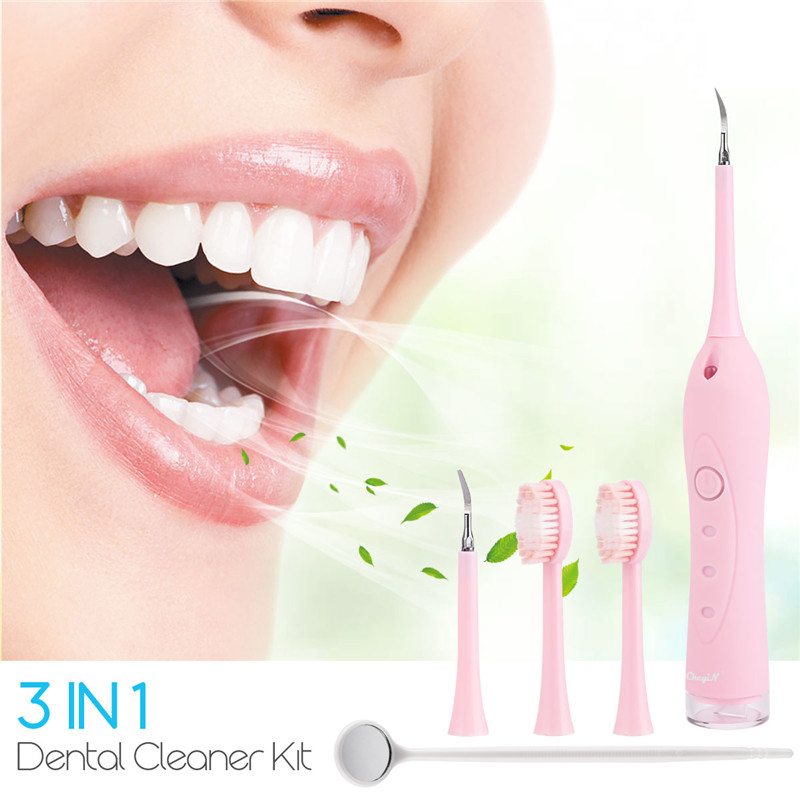 3 In 1 Electric Tooth Cleaner Dental Plague Remover Scraper Teeth Stain Polishing USB Charging Plaque Remover Tooth Whitening