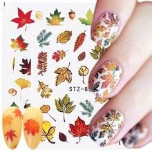 1 adet Nail Sticker sonbahar akçaağaç yaprağı tasarım lehçe su Transfer çıkartması manikür dekor altın renk kaymak tırnak sanat için LASTZ856 870