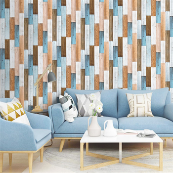 vinyl block stone brick modern wallpaper 3d feature blue purple brown black and white geometric wall paper living room office Peel And Stick Wallpaper 3D Wood Plank Brown/White/Blue Vinyl Self Adhesive Contact Wall papers Shower Room Wall Home Decor