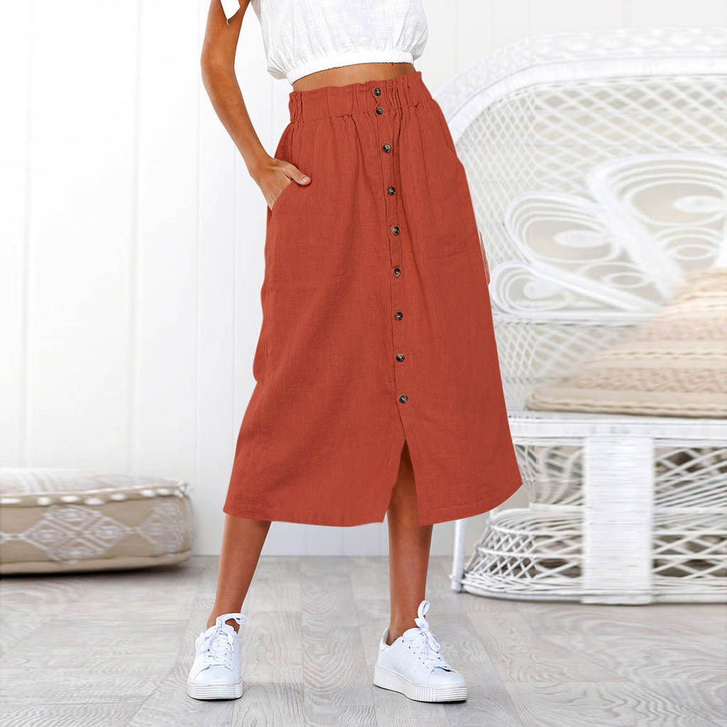 Skirt юбка Skirts Womens Long Skirt Summer Bohemia High Waist Line Button Ladies Skirt юбка женская женские юбки Woman Skirts