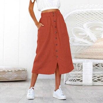 Skirt юбка Skirts Womens Long Skirt Summer Bohemia High Waist Line Button ladies skirt юбка женская женские юбки Woman Skirts skirt figl юбки в стиле колокол