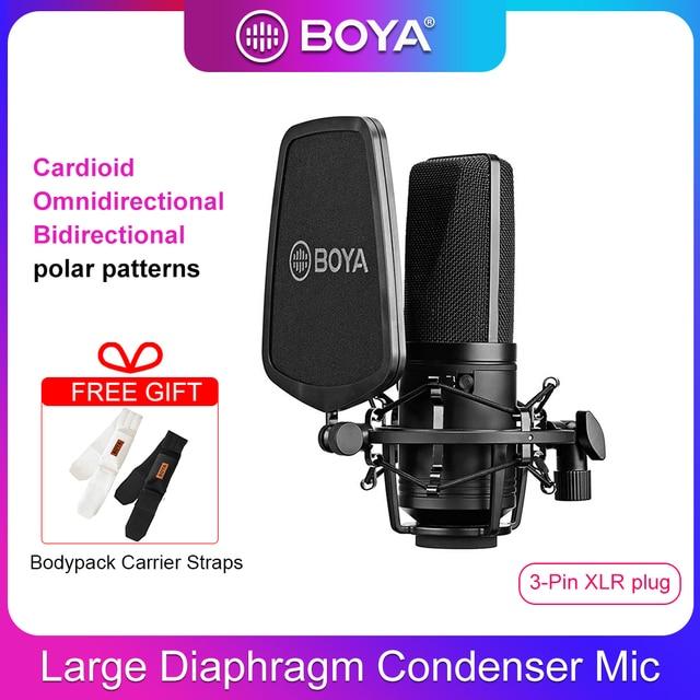 BOYA ميكروفون مكثف احترافي M1000 ، كبير ، مرشح منخفض القطع ، ميكروفون قلبي ، للتسجيل المباشر ، استوديو الفيديو ، Vlog ، كاميرا الفيديو