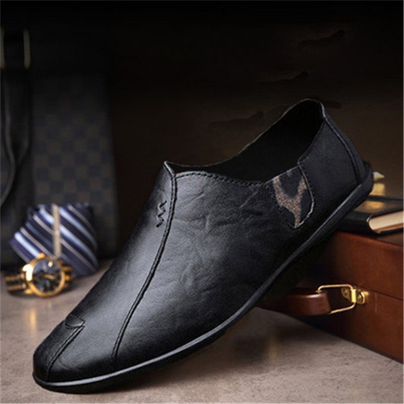Men Leather Loafers Summer Casual Driving Men's Shoes Fashion Comfortable Anti-skid Slip-On Lazy Footwear Flats Driving Shoes