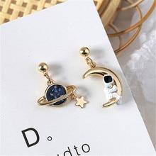 Fashion Moon star tassel earrings asymmetric stud woman contracted temperament astronauts for women jewelry