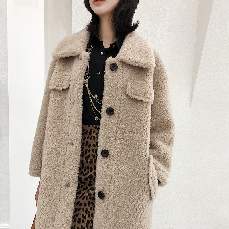 2020 Winter Wool Coat Women Warm Long Real Fur Coat Lady Elegant Red Sheap Shearing Jacket Manteau Hiver Femme LX2502