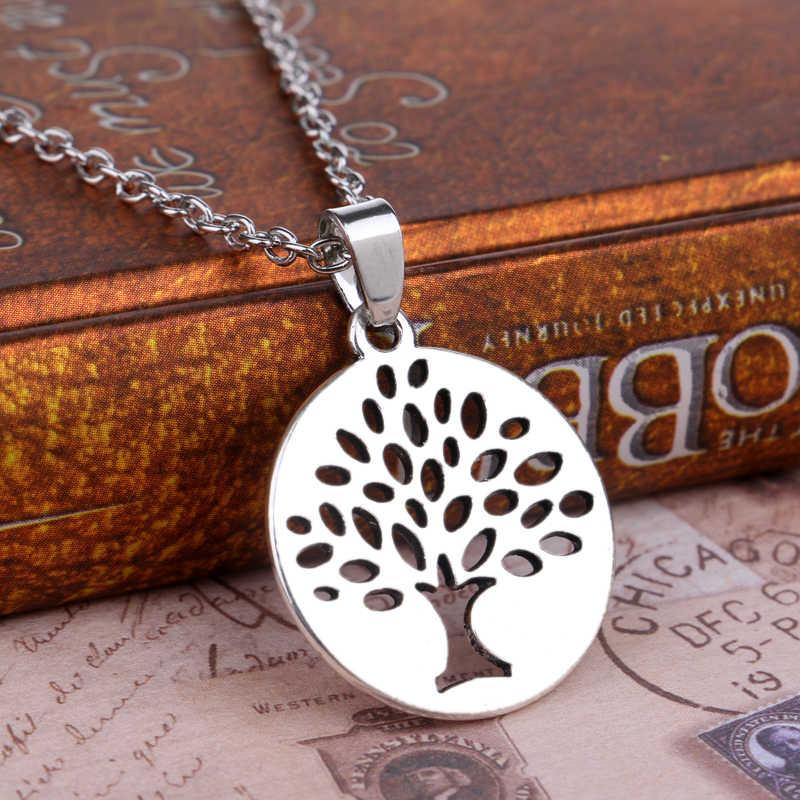 Srebrny Hollow drzewo życia wisiorek naszyjnik długi łańcuch przyjaciół rodziny kochanka kobiet dziewczyny Charm boże narodzenie biżuteria moda prezent ślubny