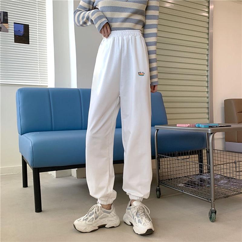 2020 Autumn Women Elastic Waist Loose Harem Pants Plus Size Female Casual Wide Leg Trousers High Waist Jogger Pants