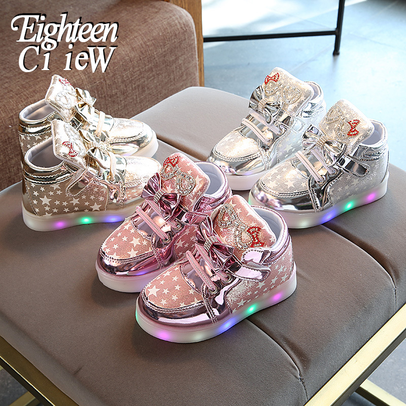 2019 New Arrival Luminous Sneakers Girls Glowing Sneakers Flashing Lights Up Shoes Basket Led Children Lighting Shoes Breathable