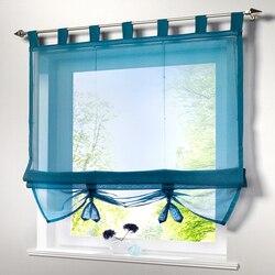 Roman cortinas de tule curto cozinha cortinas para cima e para baixo puxando cortinas para sala estar varanda janela decoração do ano novo 6 cor