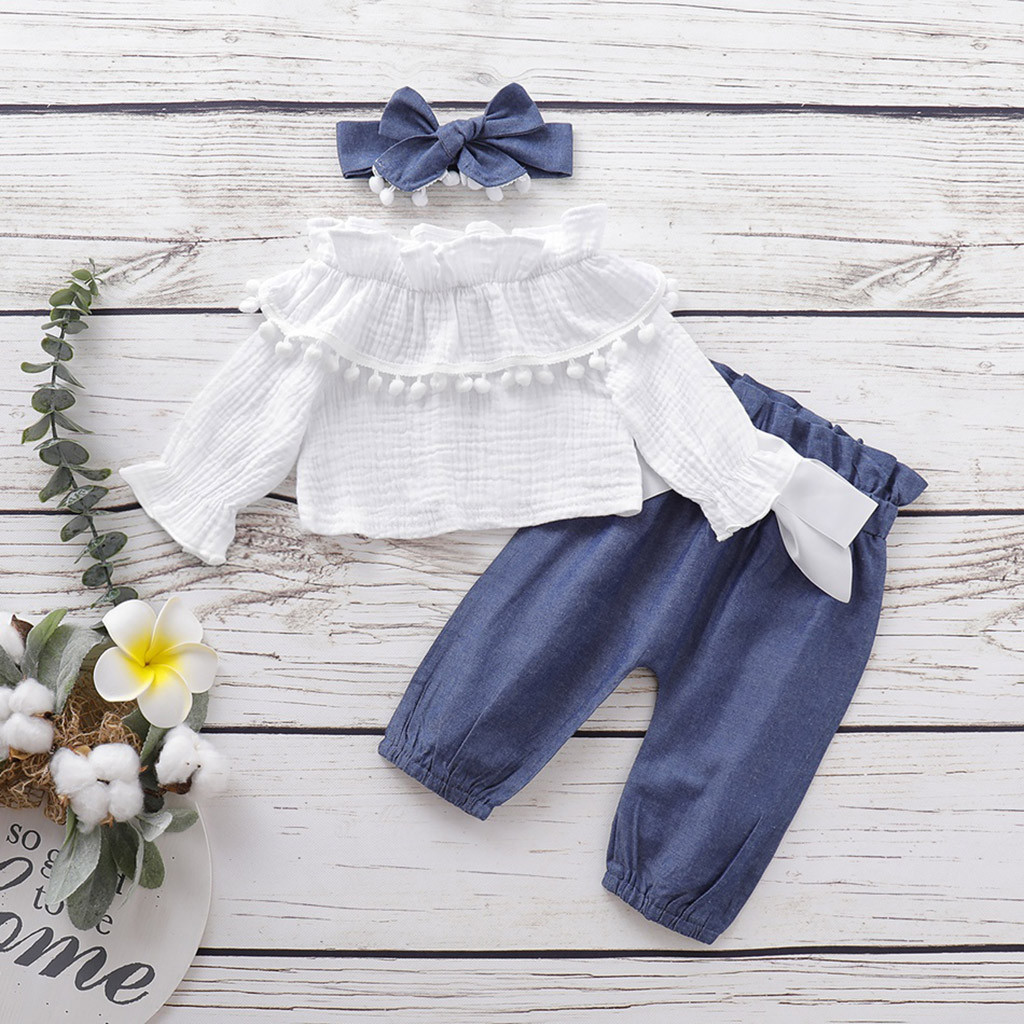 Newest Clothes Set For Girls 2019 Infant Baby Flare Sleeve Ruffles Solid Print Tops+Pants+Headband Outfits Autumn Kids Outfits