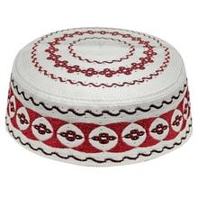 Kippah Islam Prayer Rug Topi Saudi Abaya Prayer Caps Red White Geometric Patterns Seccade Namaz Mütze Damen Islam Men