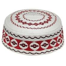 Kippah Islam Preghiera Tappetini Topi Arabia Abaya Preghiera Caps Rosso Motivi Geometrici in Bianco Seccade Namaz Mütze Damen Islam Uomini