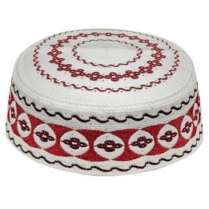 Image 1 - Kippah イスラム祈りの敷物 Topi サウジアラビアアバヤ祈りキャップ赤白の幾何学模様 Seccade Namaz Mütze ダーメンイスラム男性