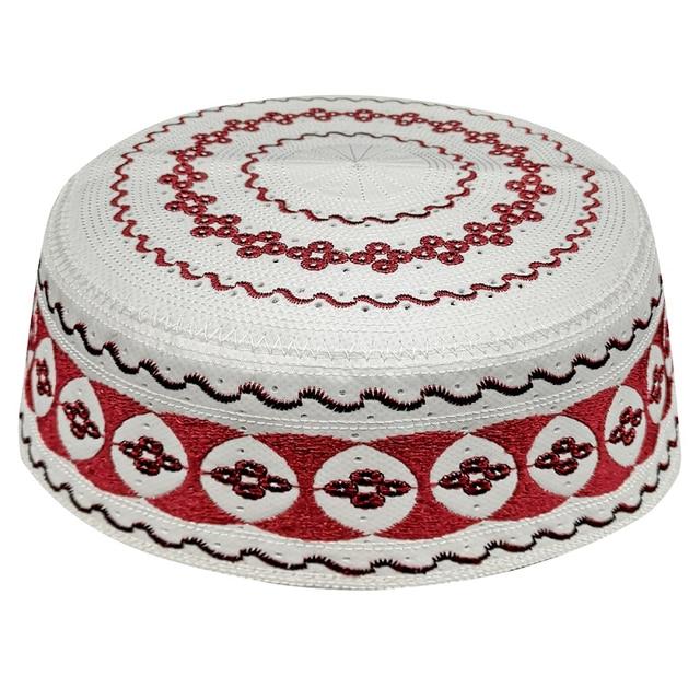 Kippah イスラム祈りの敷物 Topi サウジアラビアアバヤ祈りキャップ赤白の幾何学模様 Seccade Namaz Mütze ダーメンイスラム男性
