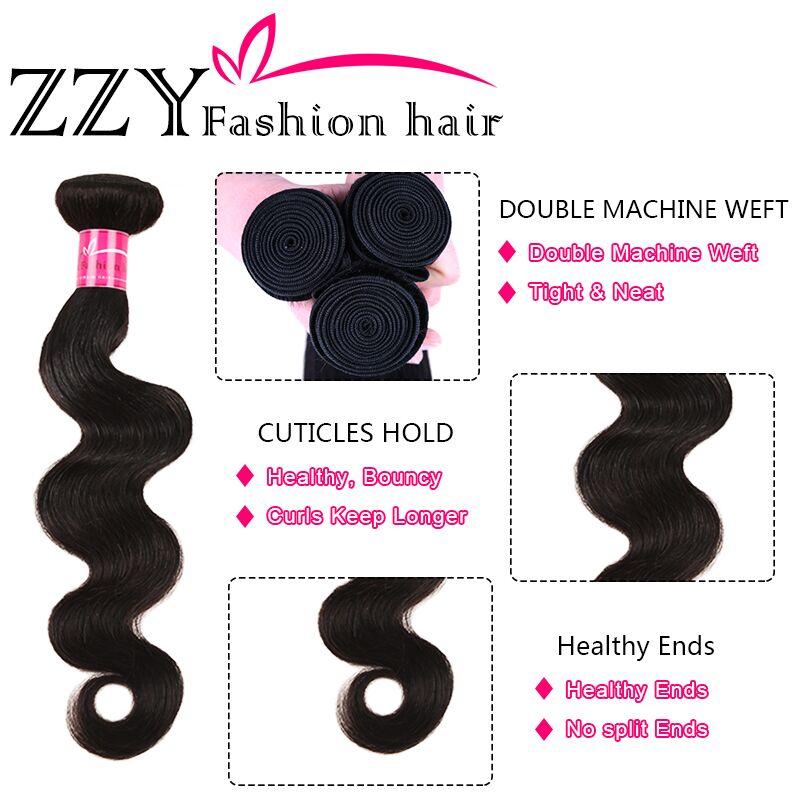 H012e864d35e54ee28b4d31f963f3a4d4w ZZY Fashion Hair Brazilian Body Wave Bundles With Closure M Ratio Non-Remy Human Hair Weave Bundles With Closure