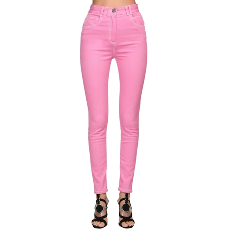 HIGH QUALITY Newest 2020 Designer Jeans Women's Top Stitching Contrast Pink Denim Jeans Pants
