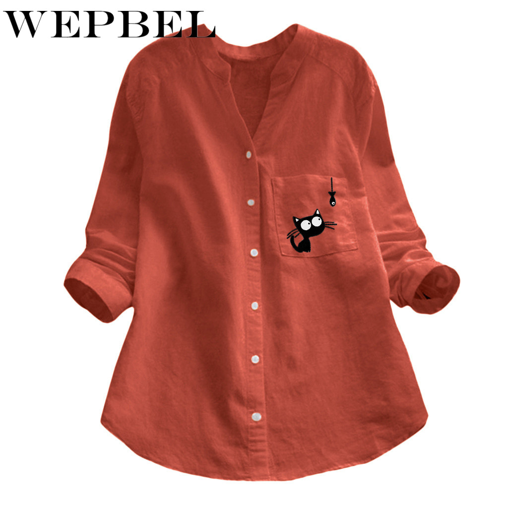 WEPBEL Summer Spring Plus Size Linen Cotton Fashion Solid Color Ladies Top Women Long Blouse Catoon Cat Full Sleeve Blouses