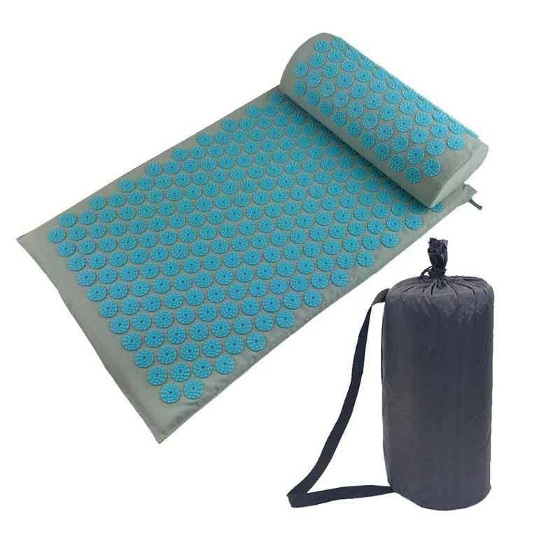 Yoga Mat Spike Acupressure Pillow Set Back Body Massager Acupuncture Cushion Mat Pain Relieve Spike Yoga Mat With Pillow