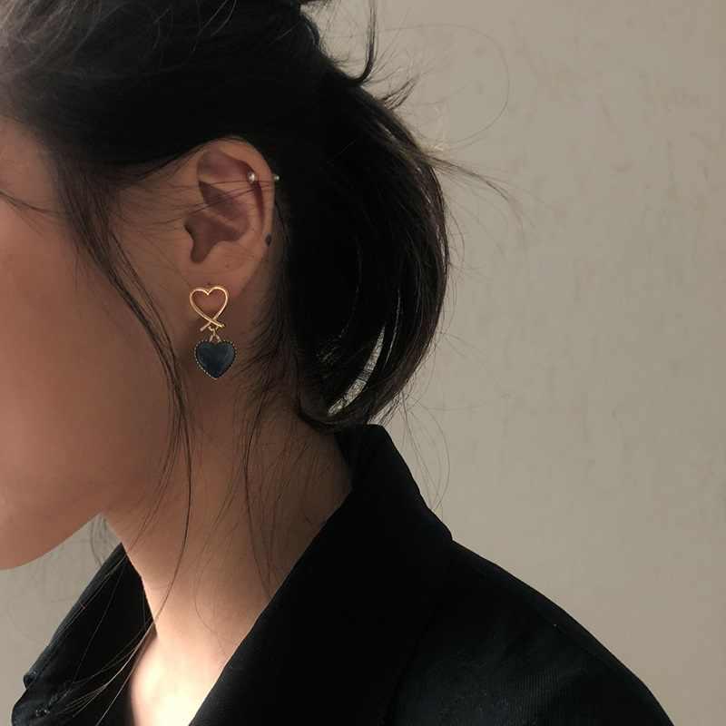 Aomu Hàn Quốc Màu Xanh Hình Học Acrylic Không Đều Vòng Tròn Rỗng Vuông Tòn Ten Tai Giọt Dành Cho Nữ Kim Loại Va Đập Bên Bãi Biển Trang Sức