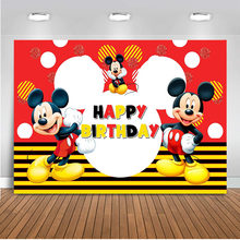 Photocall Mickey mouse background for photography Happy birthday theme party chidlren backdrops for photo studio supplies(China)