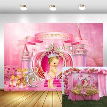 נסיכה קטנה יום הולדת רקע טירת דלעת תובלה צילום רקע ורוד ילדה מסיבת יום הולדת באנר תמונה תפאורות