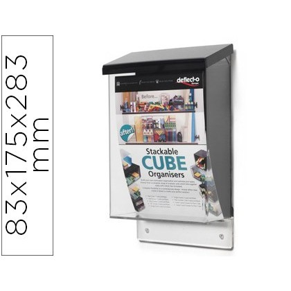 MAILBOX DEFLECTO FOR MATERIAL ADVERTISING TRANSPARENT COLOR WITH CAP BLACK 83X175X283 MM