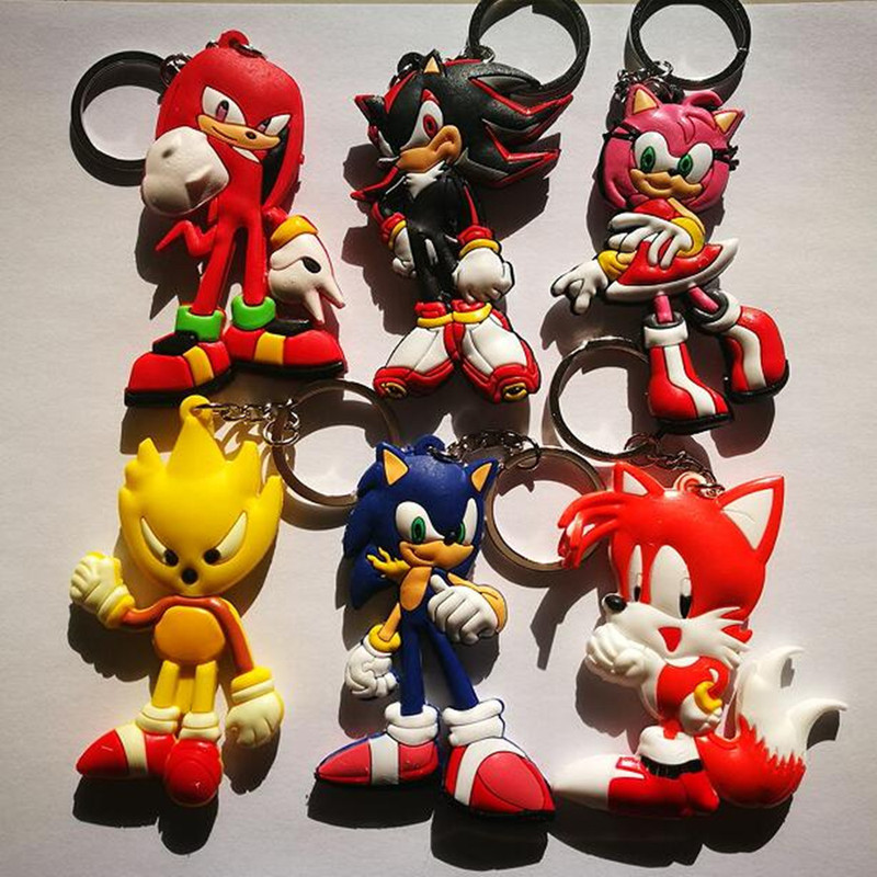 Japanese Anime Sonic The Hedgehog Keychain PVC Dijiao Keychain Sonic Double PVC Keychain Wholesale Costume Props Collectible Toy