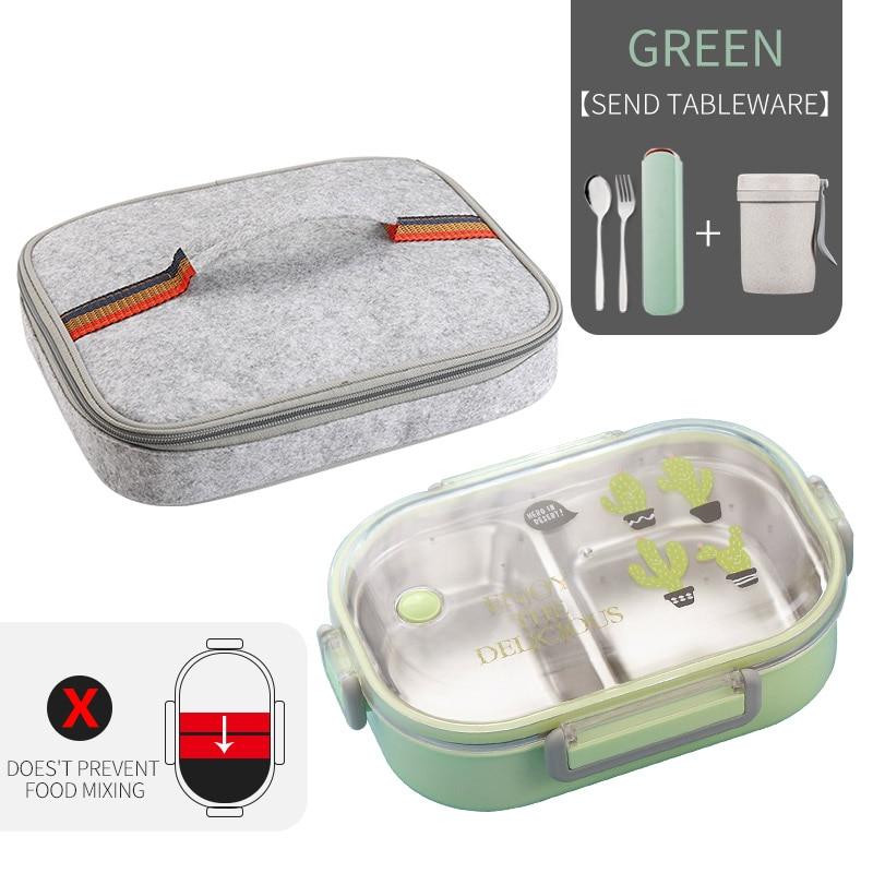 WORTHBUY японский Ланч-бокс для детей школы 304 из нержавеющей стали бенто Ланч-бокс герметичный контейнер для еды детская коробка для еды - Цвет: C Green Bag Cup Set