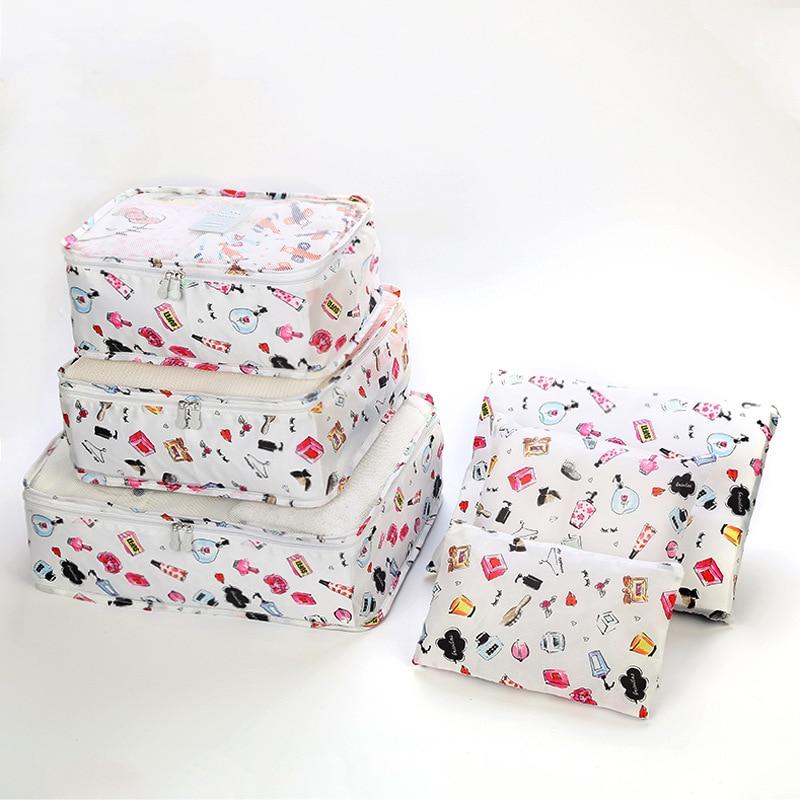 6 pçs/set organizador de viagem sacos de armazenamento portátil bagagem organizador roupas arrumado bolsa mala embalagem saco de lavanderia armazenamento caso|Sacos de armazenamento|   -