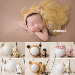 Image 1 - Dvotinst新生児の写真の小道具ベビー花柄ヘッドバンドボンネットかわいいanimial人形fotografia accessorioスタジオ撮影写真の小道具