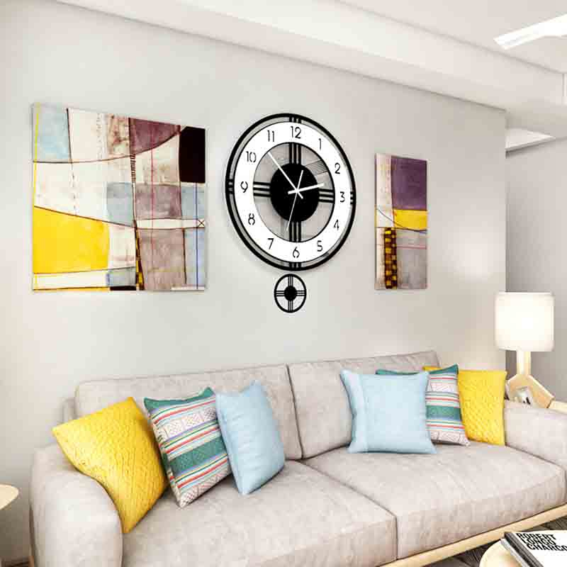 Swingable Silent Large Wall Clock Modern Design Battery Operated Quartz Hanging Clocks Home Decor Kitchen