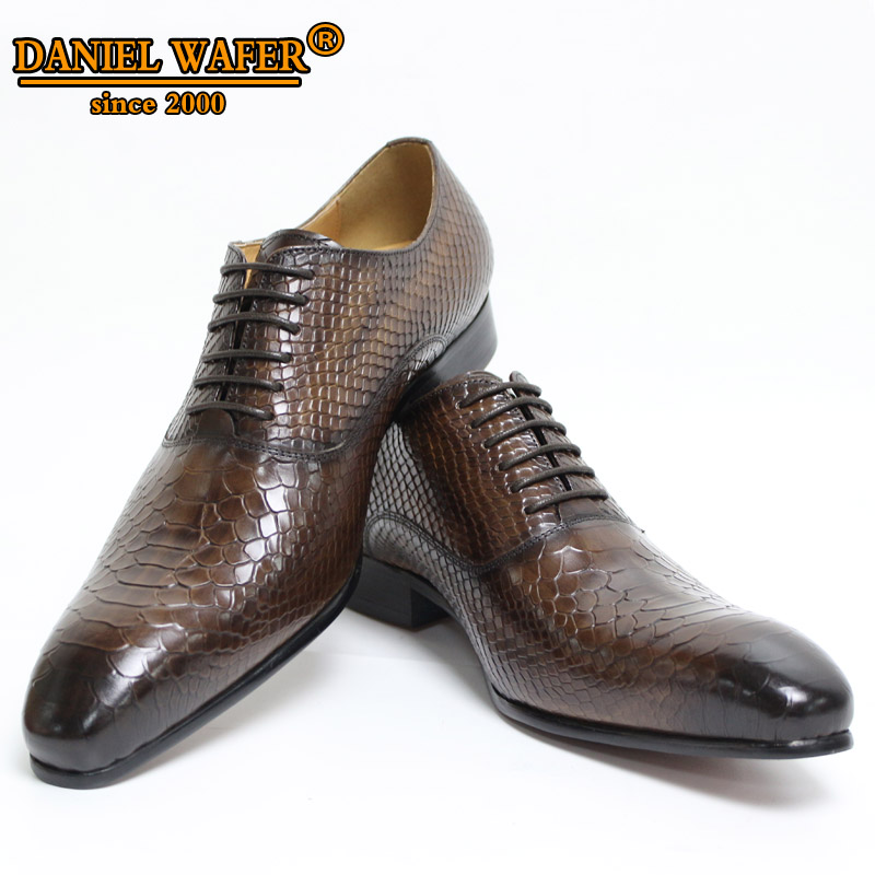 Men Leather Shoes Snake Skin Prints Men Business Dress Classic Style Coffee Black Lace Up Pointed Toe Shoes For Men Oxford Shoes