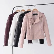 Leather Jacket Women Pu Faux Jackets Litchi Pattern Lady Sashes Pockets Black Zippers Motorcycle Biker Coats