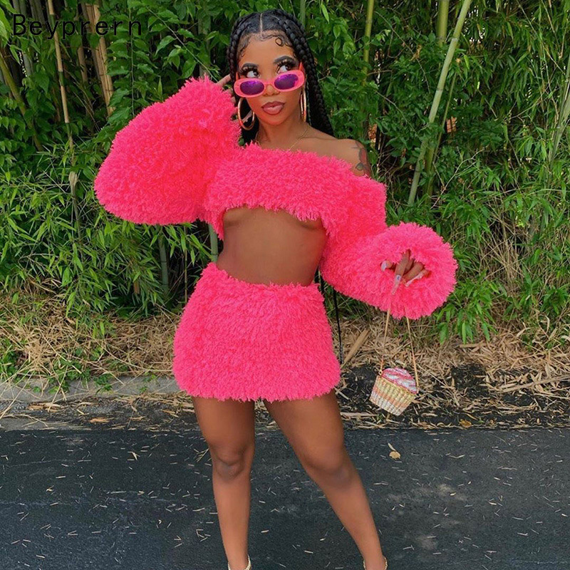Beyprern New Chic Pink Fur Tracksuit Set Cute Pink Fuzzy Suits Women Sexy Off Shoulder Furry Crop Top And Skirt Set Rave OUtfits