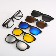 Belmont 6 In 1 Spectacle Frame Men Women With 5 PCS Clip On Polarized Sunglasses