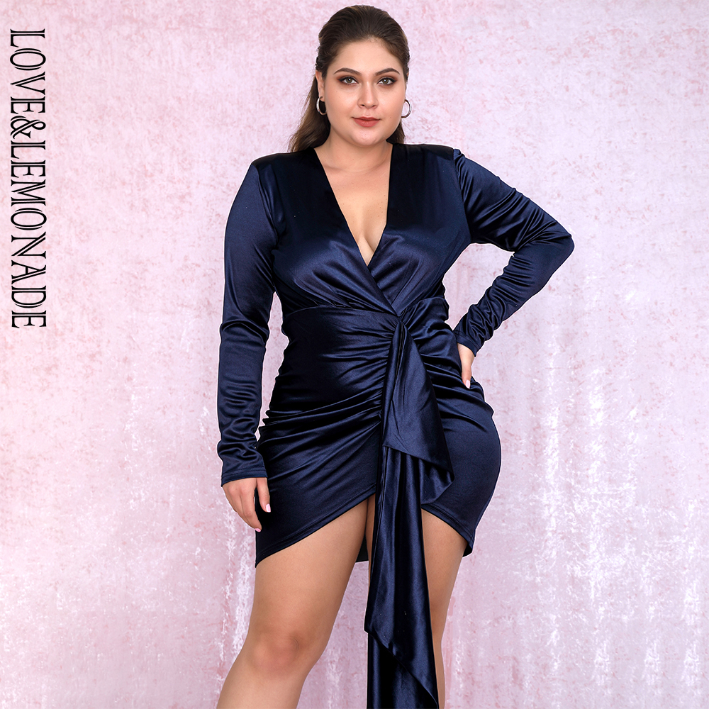 LOVE&LEMONADE PLUS SIZE Sexy Navy V-Neck Shirring Streamer Decoration Bodycon Party Dress LM81639Plus Autumn/Winter