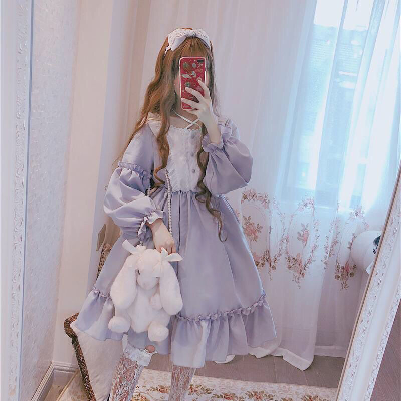 Japanese Gothic Lolita Dress Women Kawaii Bow Bear Lace Blue Dress Long Sleeve Princess Dress Halloween Costume Gift For Girls 9