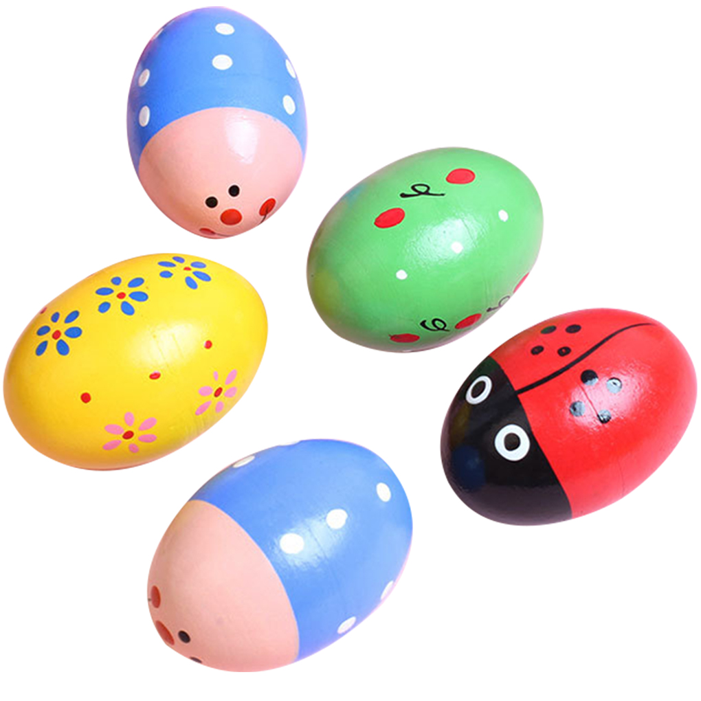 6 Pcs Color Pattern Random Egg Shaker Children Wooden Maracas Kids Percussion Instruments Kit