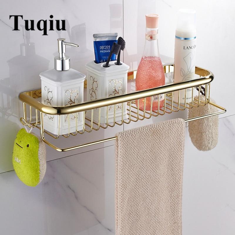 Tuqiu Gold Bathroom Shelf With Towel Hanger 30cm/45cm  Bathroom Shelves Brass  Bathroom Shampoo Holder Basket Bathroom Holder