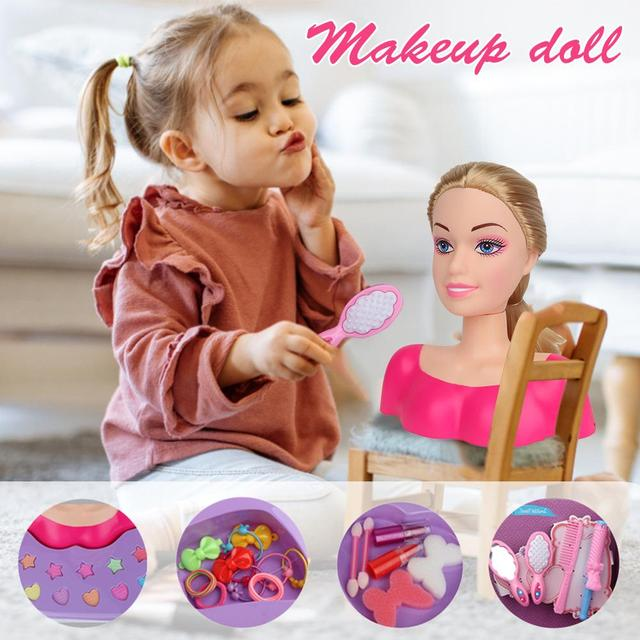 Fashion Princess Styling Head Doll Toy With Hair Clip Brush Beauty Makeup Accessories Pretend Play Toys For Girls 3